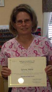 Gloria Haley shows off her new Medical Nail Tech (MNT) Certification
